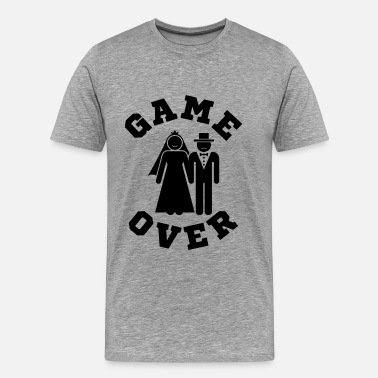 Bachelors Party Game Over Tees Funny Wedding Video Gamer Groom - Men's Premium T-Shirt
