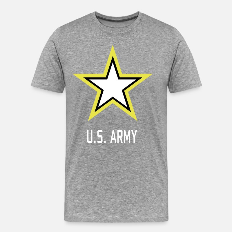 America T-Shirts - Army Star U.S. military Logo in 3 Colors - Men's Premium T-Shirt heather gray