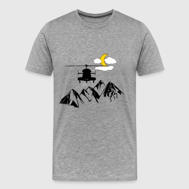 Helicopter Military Heli, mountains, moon, clouds - Men's Premium T-Shirt
