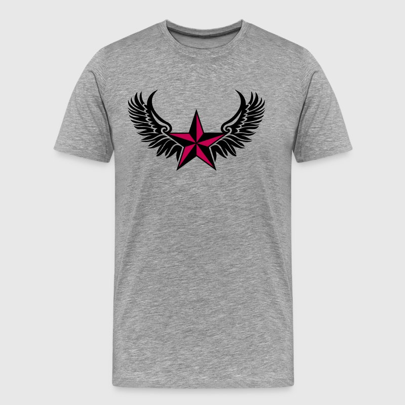 Nautical Star Wings, Tattoo Style, Protection Sign - Men's Premium T-Shirt