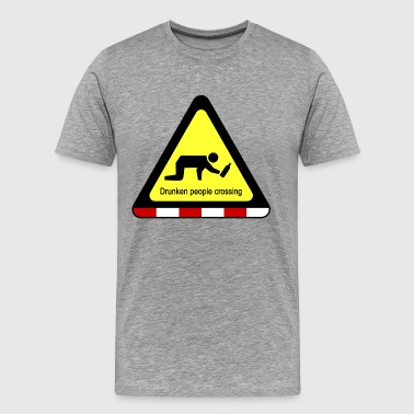 Drunken People Crossing Sign - Men's Premium T-Shirt