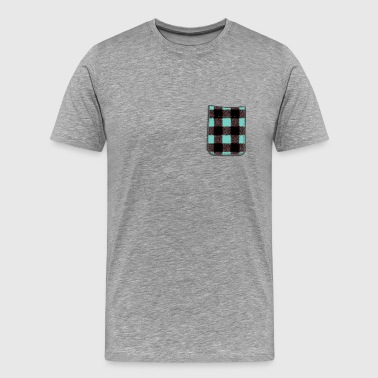 Blue Plaid Pocket - Men's Premium T-Shirt