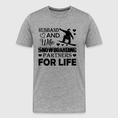 Husband And Wife Snowboarding Partners Shirt - Men's Premium T-Shirt