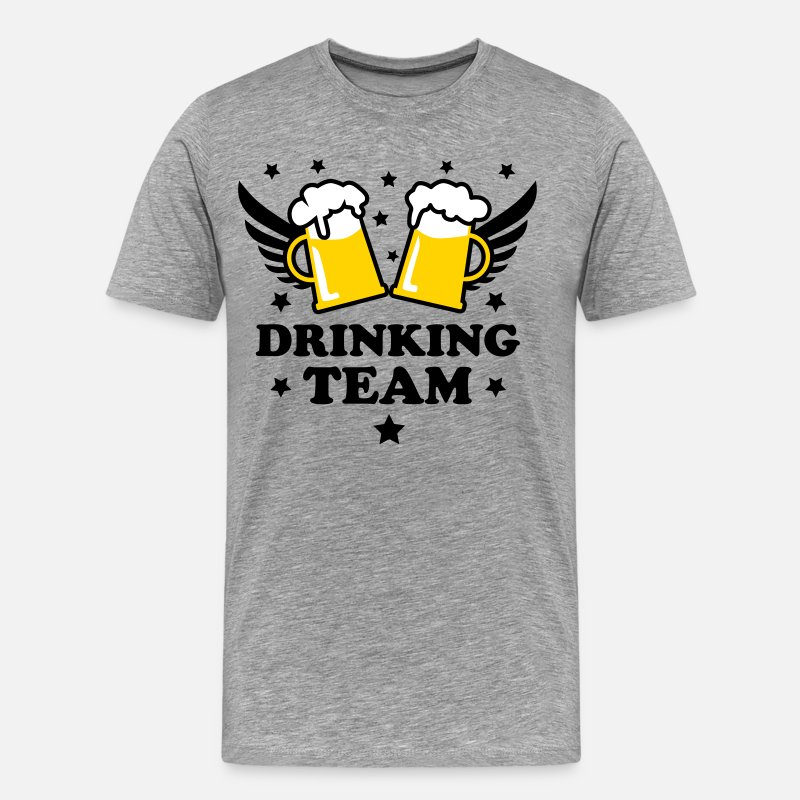 Bachelor Party T-Shirts - 10 Drinking Team 1c Beer Bier Party Alcohol - Men's Premium T-Shirt heather gray