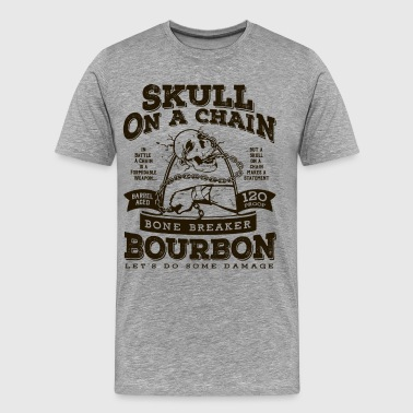 Skull on a Chain Bourbon - Men's Premium T-Shirt