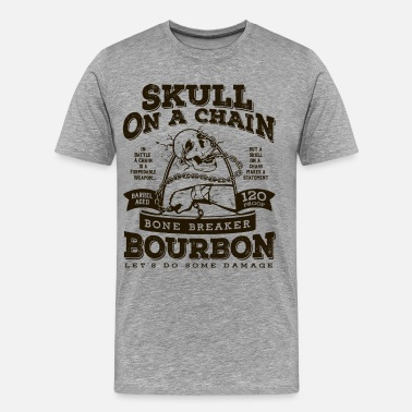 Forearm Skull on a Chain Bourbon - Men's Premium T-Shirt