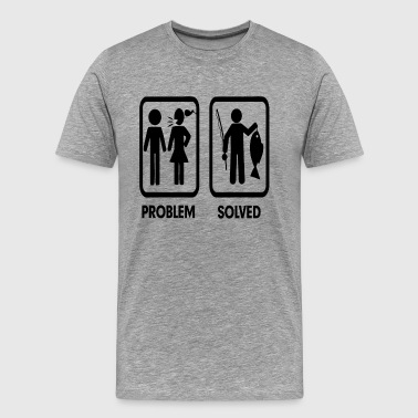 Funny Fishing Husband Problem Solved Fishing Marriage FUNNY - Men's Premium T-Shirt