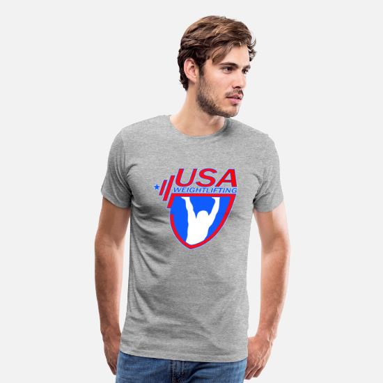 Weightlifting T-Shirts - Team USA Weightlifting - Men's Premium T-Shirt heather gray