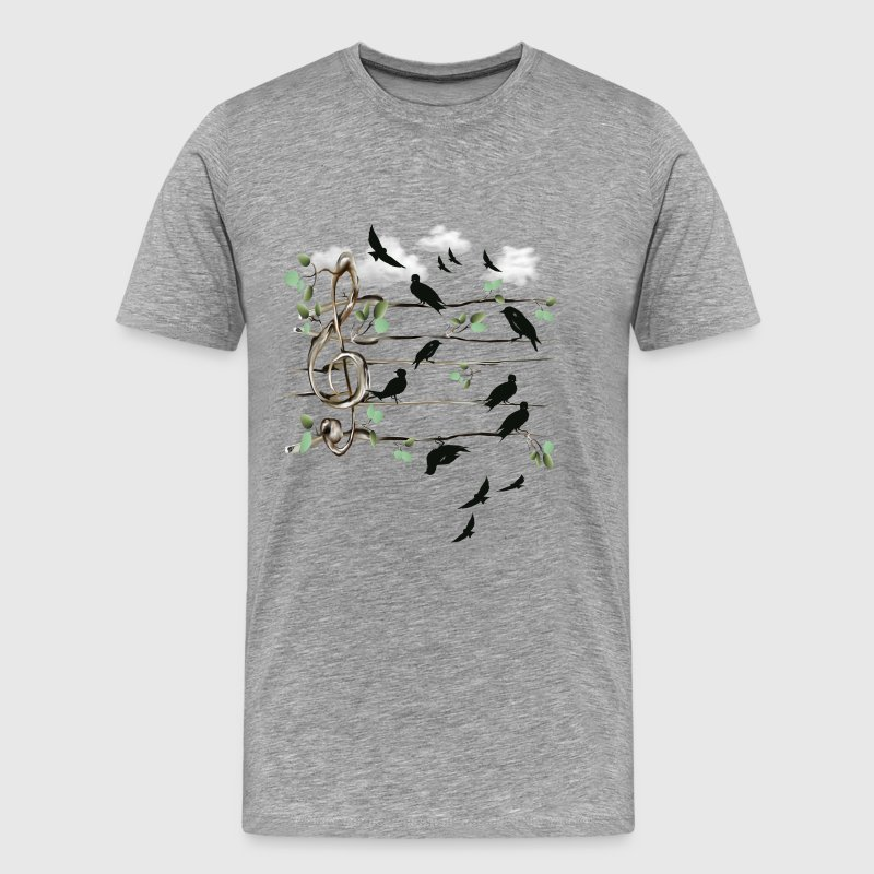 Musical Note Birds  - Men's Premium T-Shirt