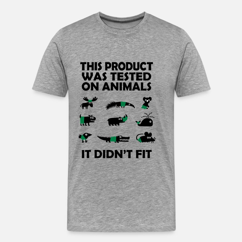 Science T-Shirts - PRODUCT tested on animals - didn't fit - Men's Premium T-Shirt heather gray
