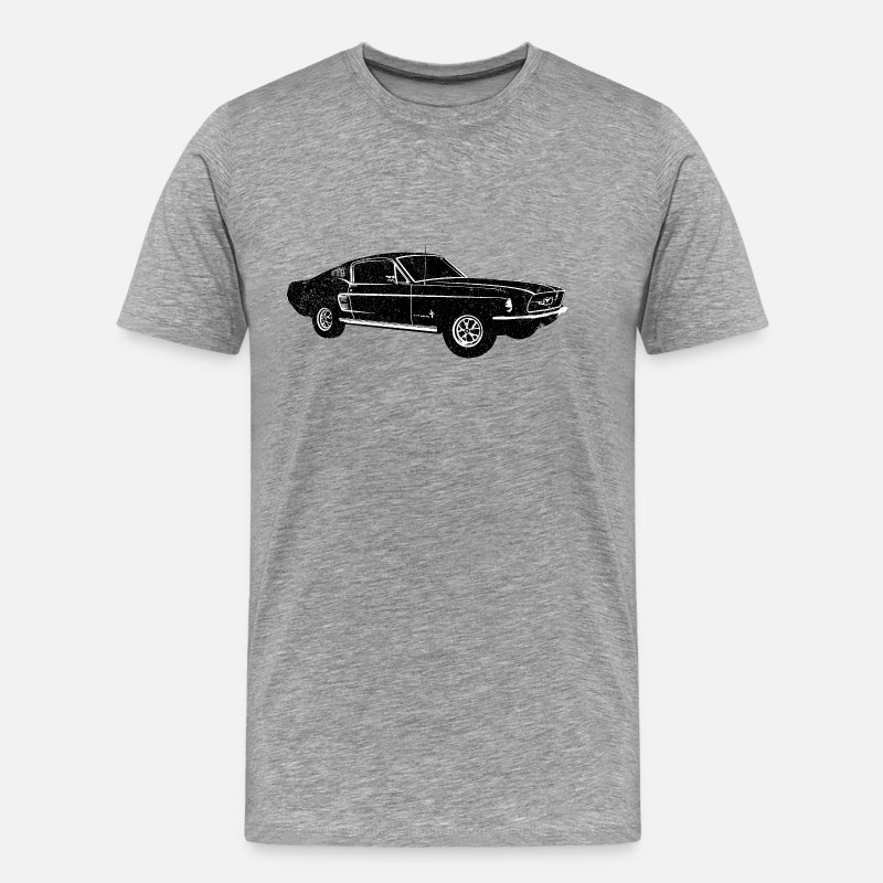 Mustang T-Shirts - 1967 Ford Mustang Fastback - Men's Premium T-Shirt heather gray