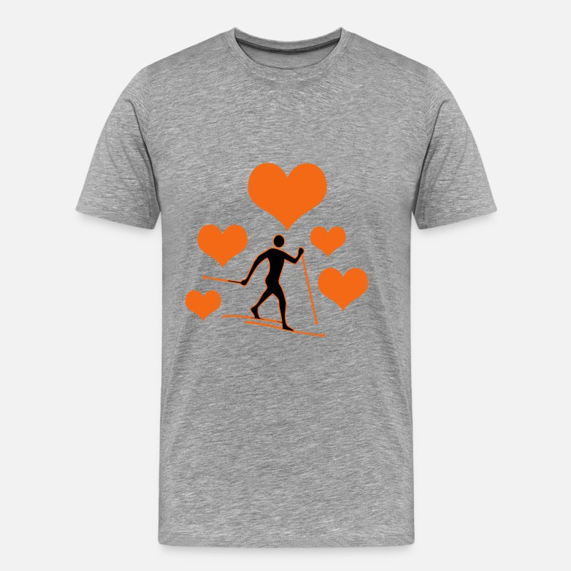 Nordic T-Shirts - Cross-country skiers with 5 hearts - Men's Premium T-Shirt heather gray