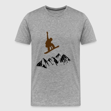 Snowboarders over mountains - Men's Premium T-Shirt