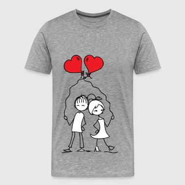Love couple with balloons - Men's Premium T-Shirt