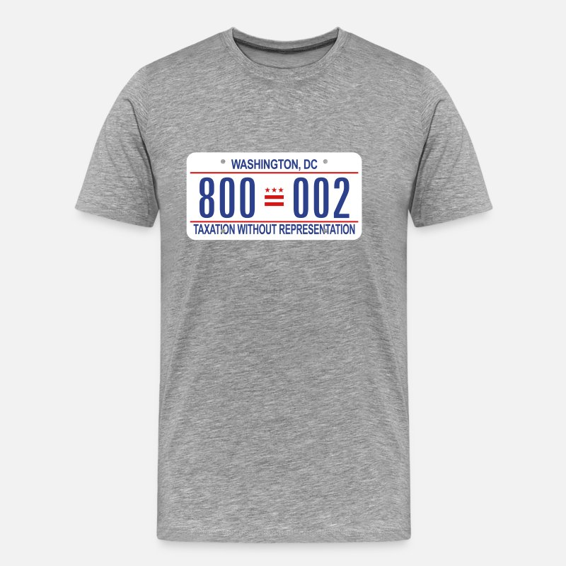 Washington T-Shirts - 800-002 DC License Plate - Men's Premium T-Shirt heather gray