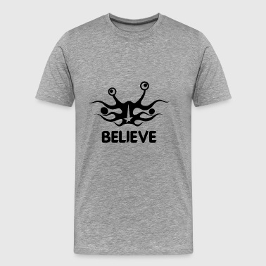 Believe into flying spaghetti monster - Men's Premium T-Shirt