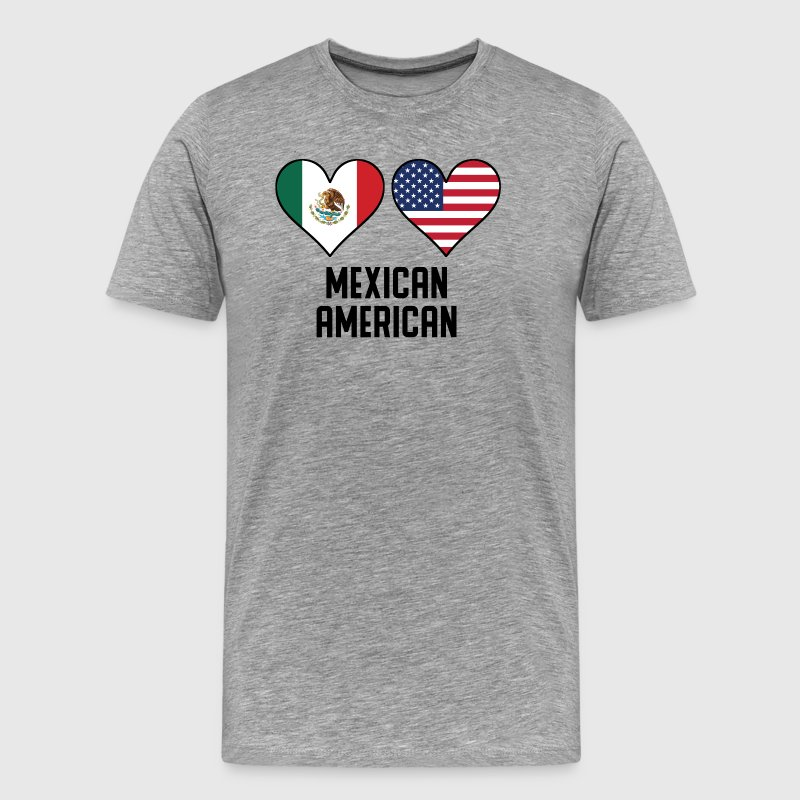 Mexican American Heart Flags - Men's Premium T-Shirt