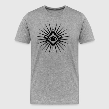 America Dollar Illuminati Masonic symbol, all seeing eye, freemason - Men's Premium T-Shirt