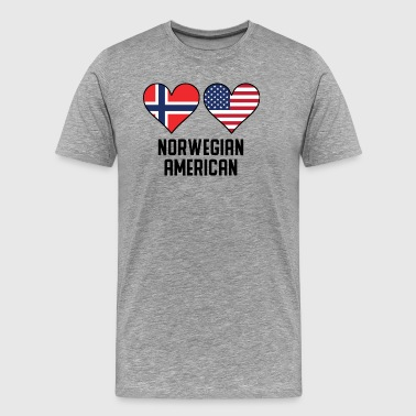 Norwegian American Heart Flags - Men's Premium T-Shirt