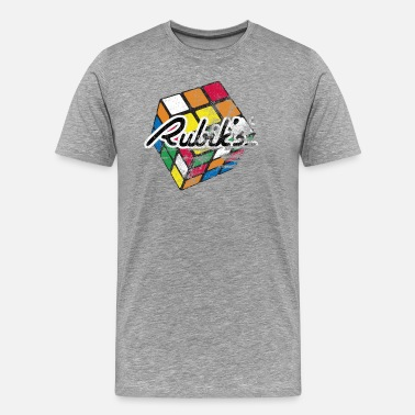 Rubiks Cube Rubik's Cube Distressed and Faded - Men's Premium T-Shirt