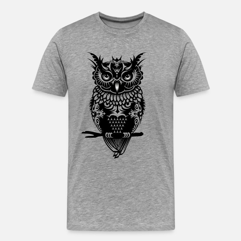 Owl T-Shirts - A dark owl - Men's Premium T-Shirt heather gray