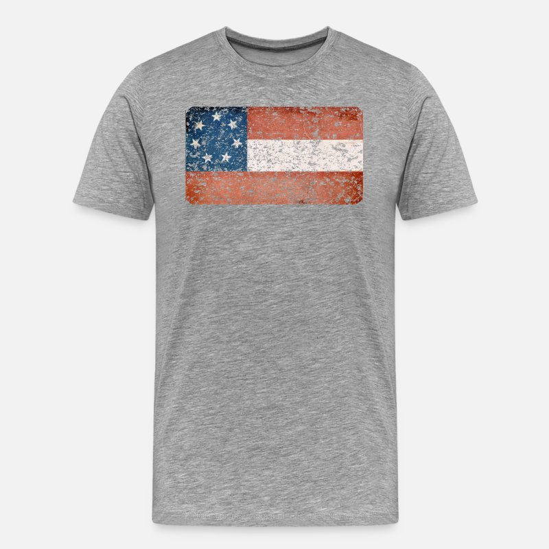 Original Confederate Dixie Flag Stars And Bars History Heritage Distressed Flag T-Shirts - Stars and Bars Flag - Men's Premium T-Shirt heather gray