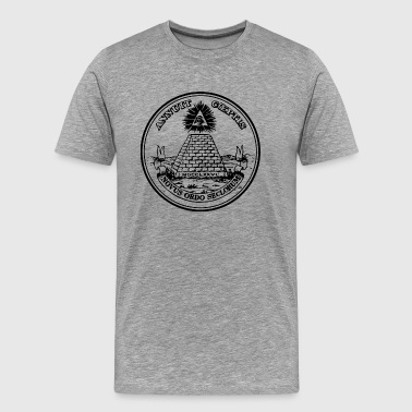 America Dollar Illuminati All seeing eye, pyramid, dollar, freemason, god - Men's Premium T-Shirt
