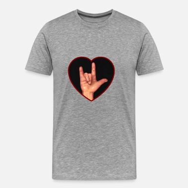Hand Hand Making Sign For  I Love You in ASL, Heart - Men's Premium T-Shirt