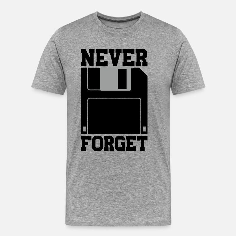 Css T-Shirts - Floppy Disk - Never Forget - Men's Premium T-Shirt heather gray