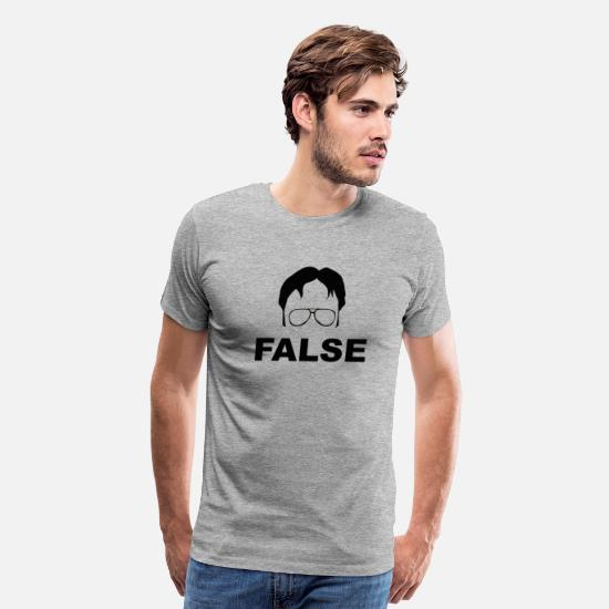 Office T-Shirts - Dwight Schrute False - The Office - Men's Premium T-Shirt heather gray