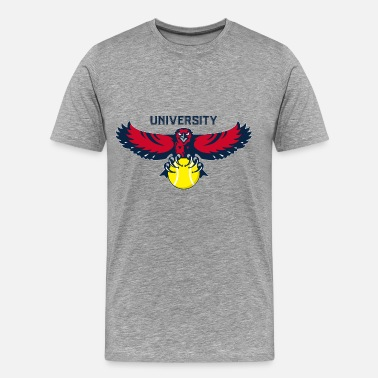 Fly Hawk University Flying Hawk and Tennis Ball - Men's Premium T-Shirt
