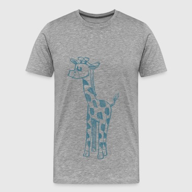 Giraffe blue line art - Men's Premium T-Shirt