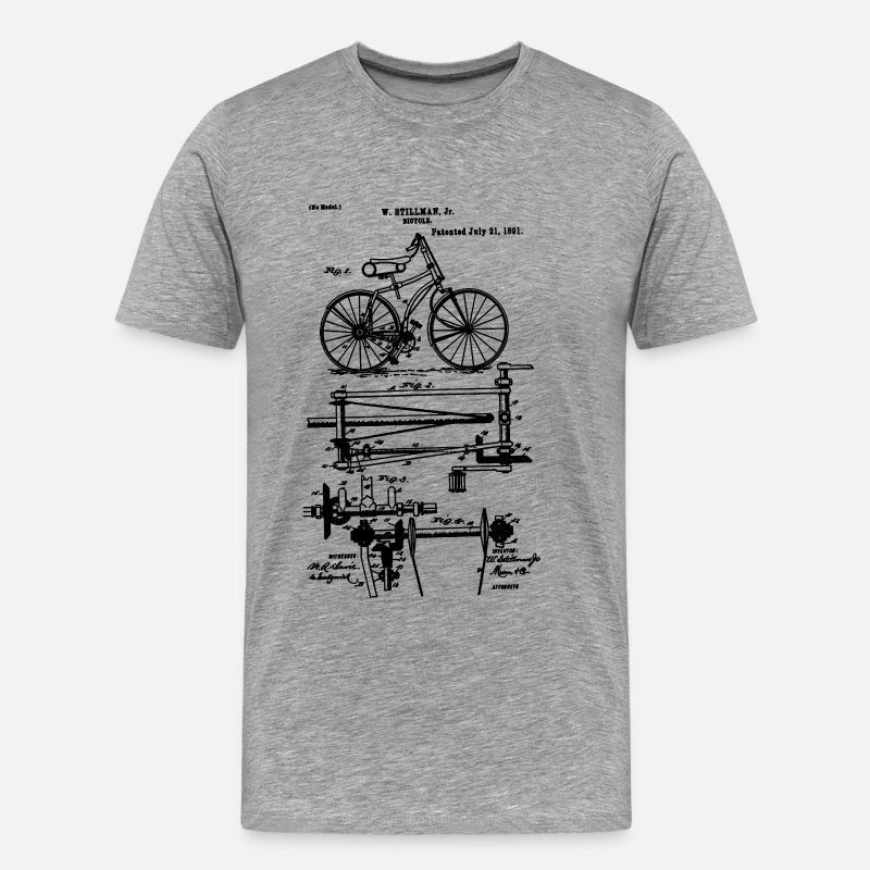 Cycling T-Shirts - Bicycle Chainless Drive Bicycle 1891 Stillman - Men's Premium T-Shirt heather gray