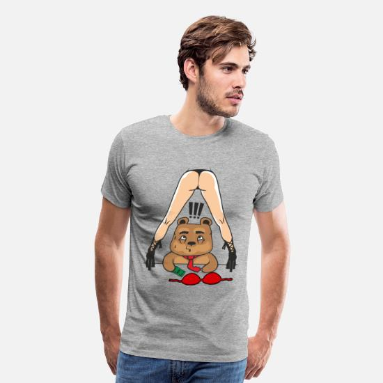 Stripclub T-Shirts - Strip Bear - Men's Premium T-Shirt heather gray