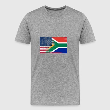 South African American Half South Africa Half Flag - Men's Premium T-Shirt