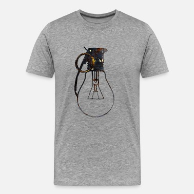 Bulb  Lightbulb and grenade - ideas stronger than weapo - Men's Premium T-Shirt