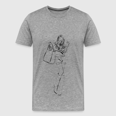 Fashion girl pencil sketch - Men's Premium T-Shirt