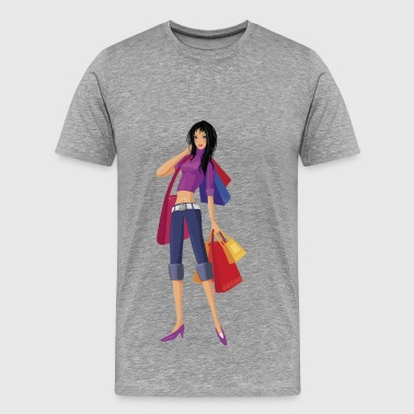 Girl with shopping bags - Men's Premium T-Shirt