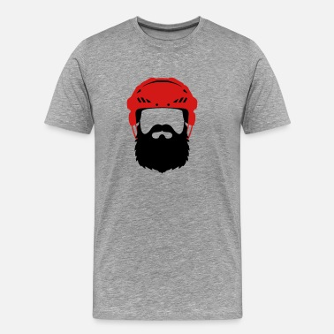 Playoff Hockey Helmet with Beard - Playoff - Men's Premium T-Shirt