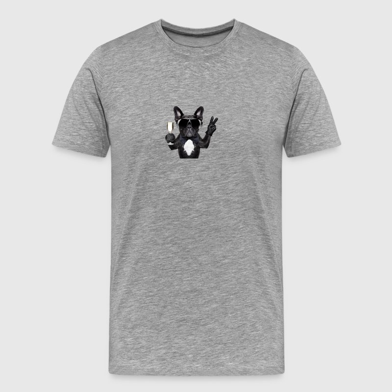 Party dog drinking champagne - Men's Premium T-Shirt