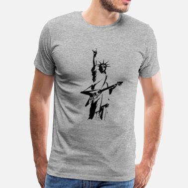 Music Statue of Liberty Rock V Guitar - Men's Premium T-Shirt