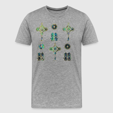 Abalone Shell Gold and Abalone Shell Lucky Chinese Symbols   - Men's Premium T-Shirt