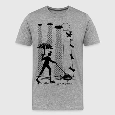 Rainy Walk with the Dog Fish - Men's Premium T-Shirt