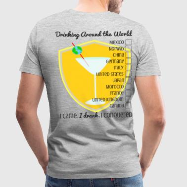 Drinking Around the World- Checklist - Men's Premium T-Shirt