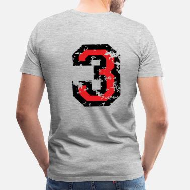Threes The Number Three - No. 3 (two-color) red - Men's Premium T-Shirt