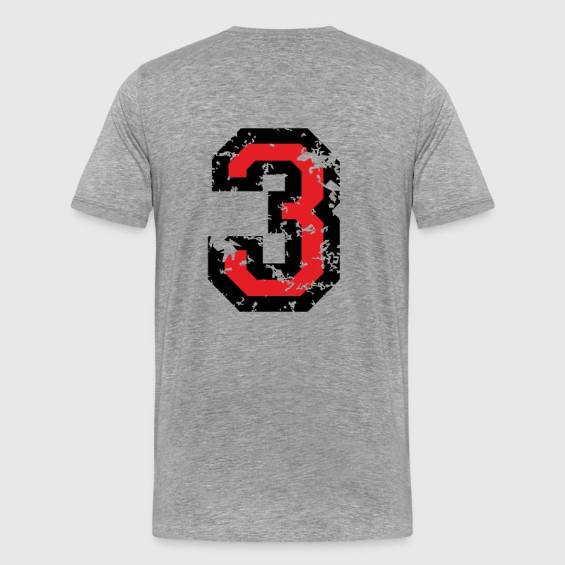 The Number Three - No. 3 (two-color) red - Men's Premium T-Shirt