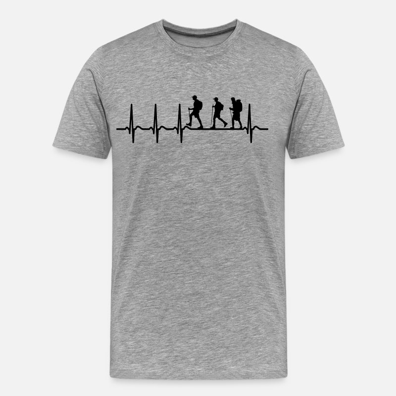 Boy Scouts T-Shirts - Heartbeat Scouting Scout Hiking Hiker Shirt Gift - Men's Premium T-Shirt heather gray