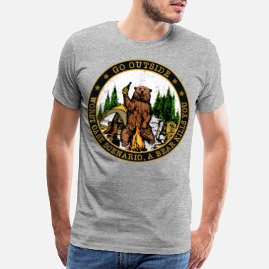 Campfire Camping Hiking Bear Go Outside Worst Case Scenario - Men's Premium T-Shirt