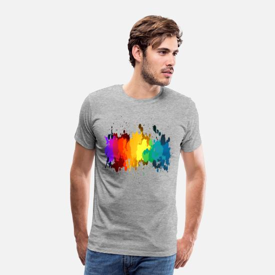 Gay T-Shirts - Rainbow Paint Splatter - Men's Premium T-Shirt heather gray