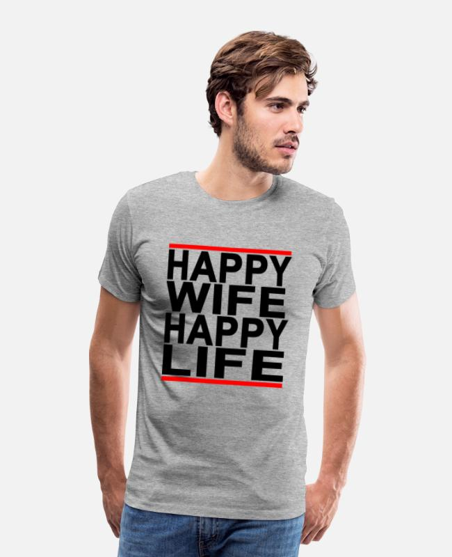 Life Force T-Shirts - happy_wife_happy_life - Men's Premium T-Shirt heather gray